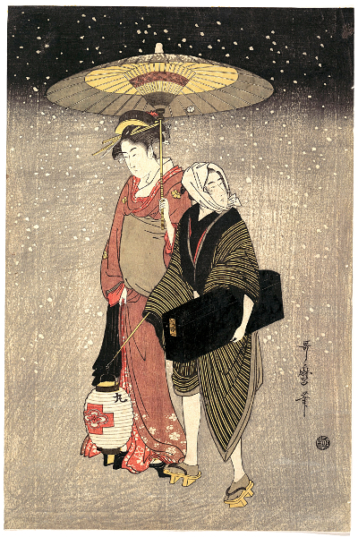 Geisha marchant la nuit sous la neige, Kitagawa Utamaro, ca. 1797. Source : Metropolitan Museum of Art, New York.